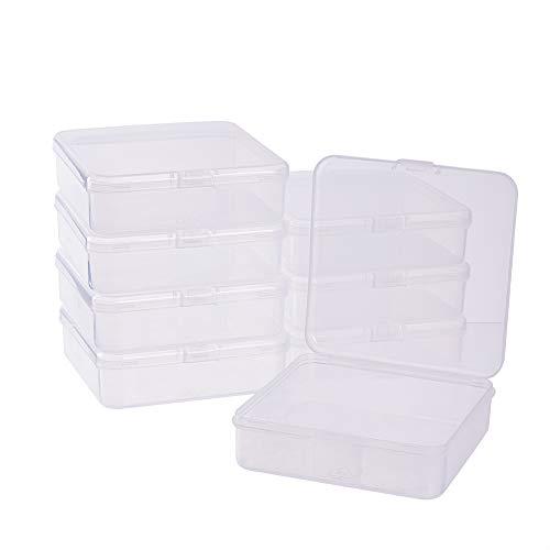 BENECREAT 8 Pack Caja de Almacenamiento de Plástico Transparente con Tapas Abatibles para Pastillas Hierbas Cuentas Pequeñas Tarjetas 10.5x10.5x3cm