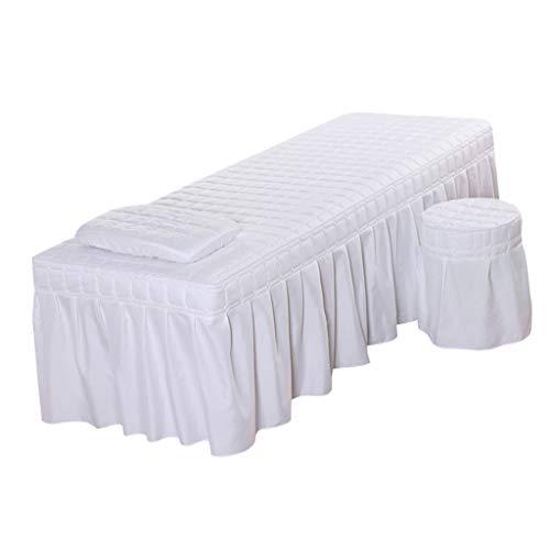 SM SunniMix Cubierta de Colchón Feder Falda de Mesa para Salón de Cama Cosmética de Belleza - Blanco-l