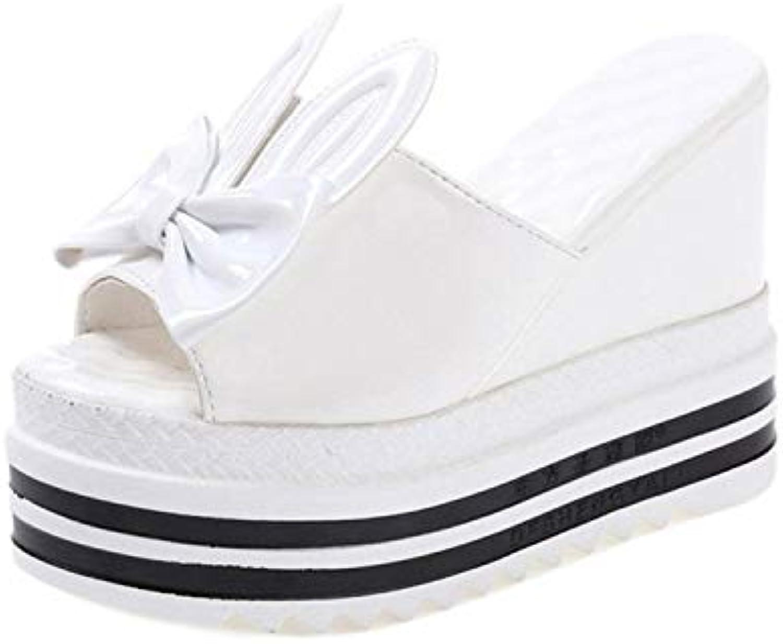Women's Platform Wedge Heel Peep Toe PU Sandals Summer Fashion Slippers, White
