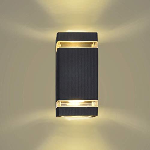Artpad Black Led Iluminación de interior para exteriores, aplique de LED Luces de lavado de pared de arriba y abajo Gu10 2 * 5W Luz de porche Lámpara de luz blanca cálida montada en la pared