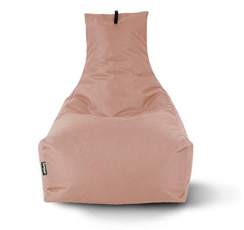 Lounge Sitzsack Liege Beanbag 32 Farben wählbar 90cm(Ø) Rückenlehne Bodenkissen Indoor Outdoor Sitzsäcke Gaming Kinder Bean Bag Erwachsene Riesensitzsack gefüllter Sessel (Puderrosa)