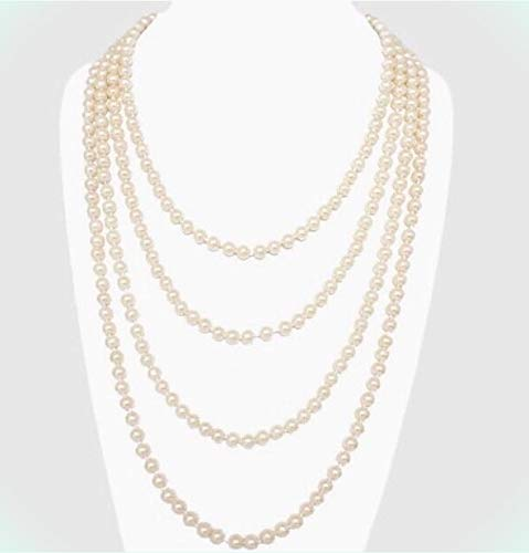 """120"""" Cream Very Long Bridal Wedding Bead Pearl Crystal Necklace Formal For Women"""