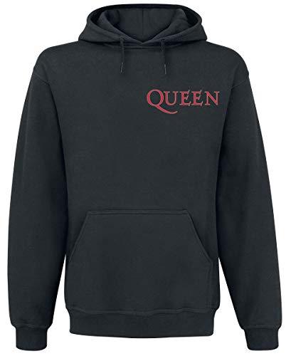 Queen Crest Vintage Hombre Sudadera con Capucha Negro, Regular