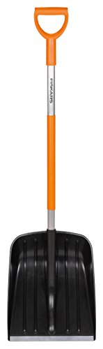 Fiskars Pelle à neige, Largeur: 35 cm, Tête en plastique/Manche en aluminium, Noir/Orange, SnowXpert, 1003468