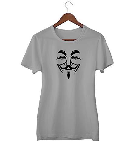 KLIMASALES Guy Fawkes Klassiek Masker Enigma Cyber World_KK018763 Shirt T-shirt voor Vrouwen - Grijs