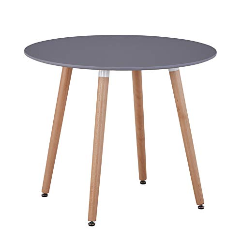 GOLDFAN Wood Dining Table Modern Round Kitchen Table Coffee Table with Natural Beech wood Legs,90cm Grey(Table Only)