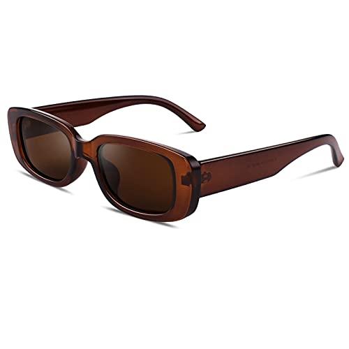 GQUEEN Gafas de sol rectangulares para mujer, polarizadas, cuadradas, retro, vintage, estilo años 90, moda UV400, 1.1 Marrón Marrón, Medium