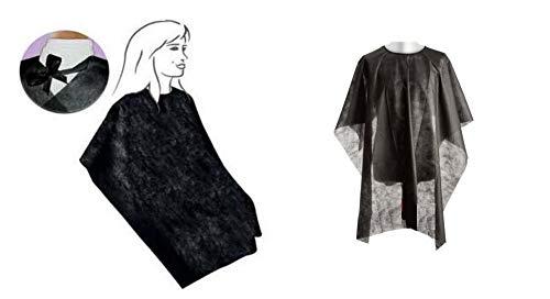 Mantela/Kimono corte TNT negro desechable con cordones 100 unidades Made in Italy