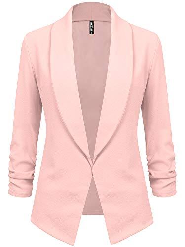 LL WSK2324 Women 3/4 Sleeve Blazer Open Front Cardigan Jacket Work Office Blazer XXL Pink