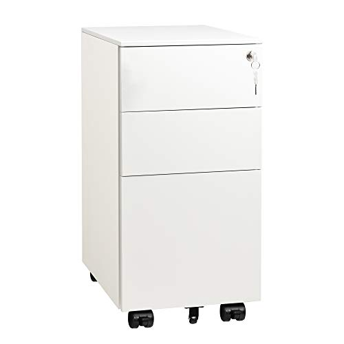 DEVAISE Slim File Cabinet with Lock, 3 Drawer Mobile Filing Cabinet for Legal/Letter/A4 Size, Fully Assembled Except Wheels, White