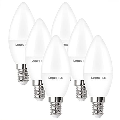 Lepro E14 LED, E14 LED Warmweiss, LED E14 5.8W, Glühbirne E14 470 Lumen, 6er-Pack, ersetzt 40W Birne, C37 2700K Warmweiß Glühlampe E14, 240° Leuchtmittel E14, Kerzenleuchten