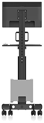TabloKanvas Soporte para monitor móvil de 17 a 32 pulgadas, altura ajustable con teclado y soporte para host (color negro)