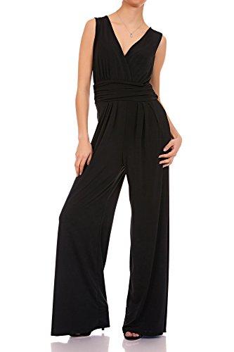 Laeticia Dreams Eleganter Damen Overall Jumpsuit V Ausschnitt S M L XL, Farbe:Schwarz, Größe:42 XL