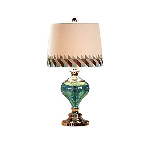 ZWeiD Decoratieve Table Lamp, Cafe Western Restaurant bureaulamp blauw linnen lampenkap Glazen Tafellamp E27 Grootte: 32 * 32 * 61cm Table Lamp Verlichting tafellamp (Size : 32 * 61cm)