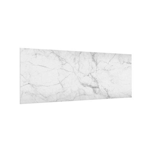 Bilderwelten Panel antisalpicaduras de Cristal - Bianco Carrara - Panorámico, Panel antisalpicaduras...