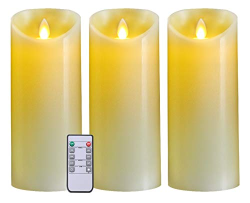 5plots 9' x 3' Flickering Flameless Candles - Battery Operated LED Candles - Amber Yellow Light with Remote and Timer - Moving Wick Dancing Flame - Set of 3