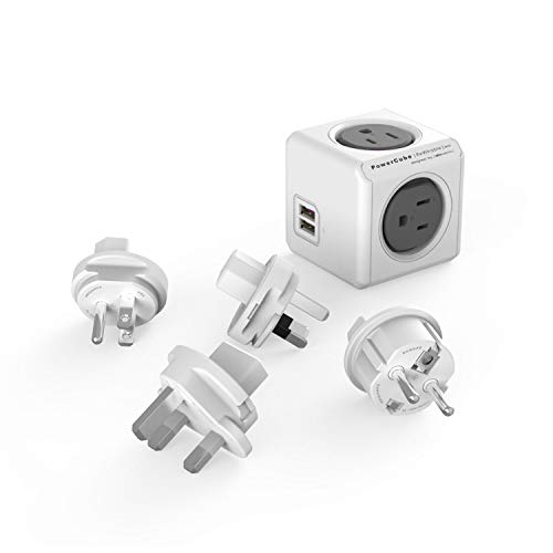 Travel Adapter, Allocacoc PowerCube Rewirable USB, 4 sockets and 2 USB Ports (TypeB sockets USB,...