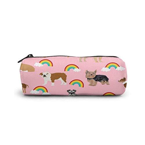 Estuche para lápices Perros con arcoíris Kawaii Perros lindos para mascotas Pluma rosa Estuche para papelería Estuche para maquillaje cosmético Estuche para artículos de tocador Estuche para cosmético