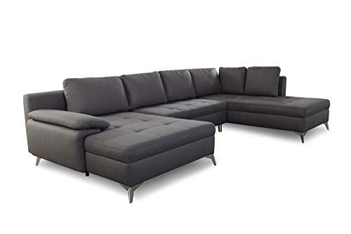 CAVADORE Wohnlandschaft Lina / U-Form Sofa mit Longchair, Ottomane und Steppung im Sitz / leichte Fleckentfernung dank Soft Clean / 326 x 85 x 201 / Dunkelgrau