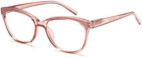 Newvision,Gafas premontadas de lectura anti luz azul para mujer, gafas de lectura presbicia con bisagras de muelle para mujer, montura de ojos de gato y ligera para ordenador, PC,NV1157 (+2.50, rosa)