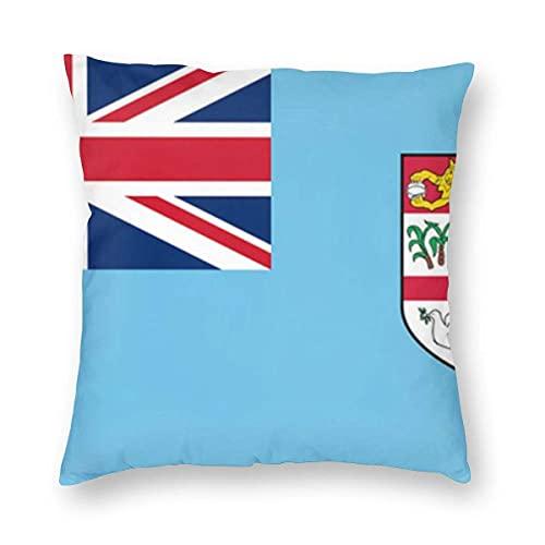 H.Slay Kissenbezug Fidschi Flagge Home Dekorative Dekokissenbezug für Wohnzimmer Sofa Stuhl Kissenschutz Bar Party Festival Geschenk Kissenbezug 45X45cm