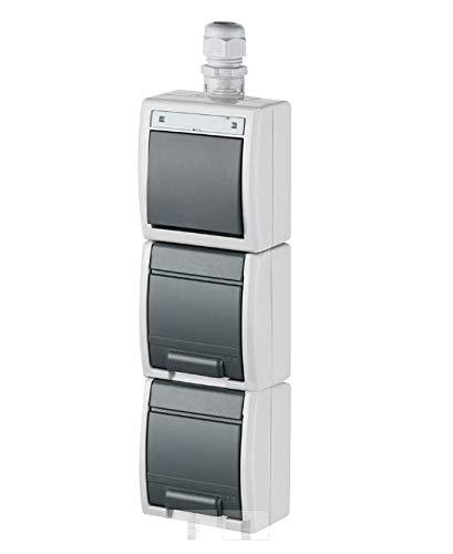 Naka24 Aufputz Kombination Feuchtraum Schuko AQUANT IP65 (1264-65 2X Steckdose + 1x Schalter vertikal), Weiß-grau