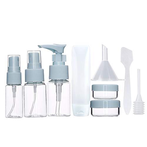 9 envases con bolsa de mano de 1 litro para líquidos (transparente) para cosméticos Champú Gel Crema Plástico transparente portátil, set de botellas de viaje, atomizadores