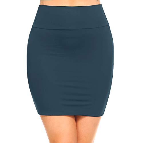 Fashionazzle Women's Casual Stretchy Bodycon Pencil Mini Skirt (Small, KS06-Teal/Spandex)