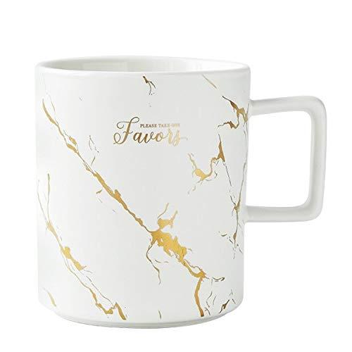 Bestwishes Kaffeetasse Cremeweiß Marmor Gold Design Keramik XL groß ca. 400ml (Weiß)