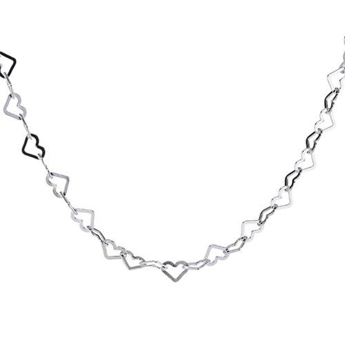 Vinani Halskette glänzend Herz 40 cm bis 50 cm einstellbar Sterling Silber 925 Herzen Collier Kette Italien KCH