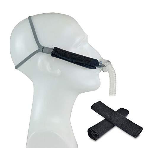 iGuerburn Universal Komfort Gurtbezüge BiPAP APAP CPAP - Riemenpolster Kissen für Resmed Philips Respironics CPAP Kopfbedeckung- Keine Linien oder Markierungen auf den Wangen mehr- 2 Stk. Schwarz