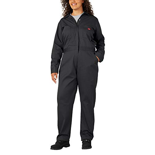 Dickies Women's Plus Size Long Sleeve Coverall, Black, 2PS