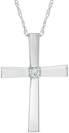 Diamond Accent Cross Pendant in 10k White Gold with 18