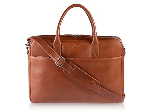PURE Leather Studio Borsa a tracolla da uomo in vera pelle NAOS I Borsa ventiquattrore a mano I Per lavoro ufficio porta pc portatili 15,6 pollici