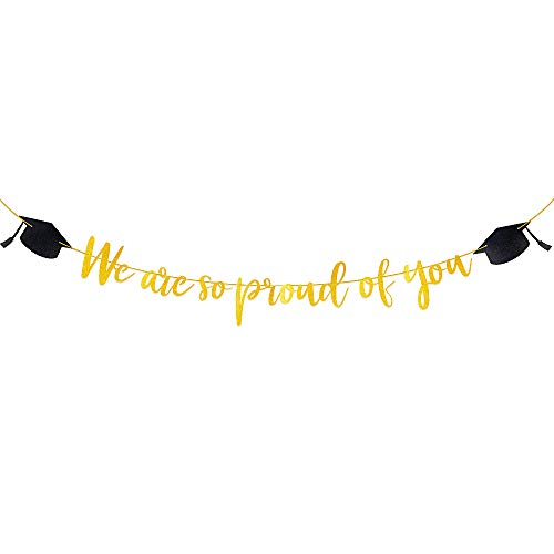 We are so Proud of You Graduation Banner, Graduation Garland with Graduation Cap, Congratulations Graduation Theme Party Decoration, Graduation Ceremonies
