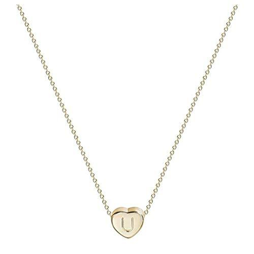 Dorical Buchstaben Kette/Damen-Kette Buchstaben A-Z in Silber oder Rosegold - Alphabet Halskette mit Anhänger- Silberkette Halschmuck für Damen, Kinder & Herren Sonderverkauf(01-U,One Size)