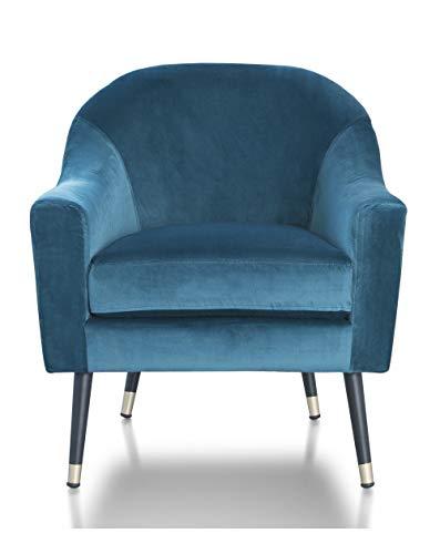 SWEET SOFA®-Butaca de diseño, Velvet, Sillón Individual, Patas de Madera, Estilo nórdico, tapizado Terciopelo Color Verde.
