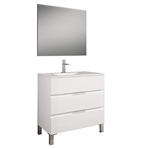 Mueble Montado 80cm Blanco 3 Cajones + Lavabo + Espejo