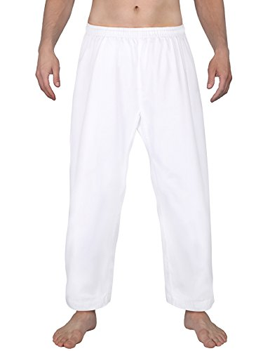 FitsT4 Karate Pants 8oz Middleweight Elastic Waist Martial Arts Pants Perfect for Training or Competition White Karate Bottoms 000