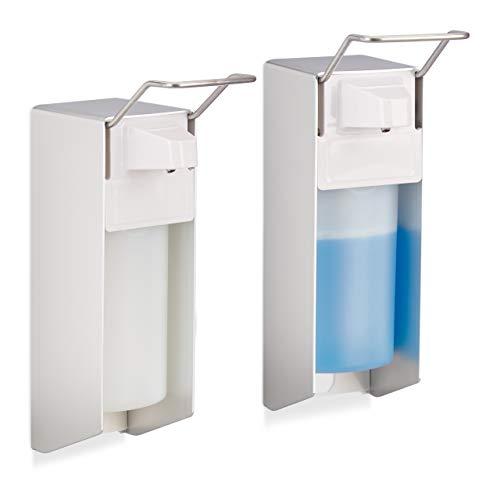 Relaxdays 2 x Eurospender 500 ml, intelligente Handhygiene, Seifenspender, Desinfektionsmittelspender, Bügel-Mechanik, weiß