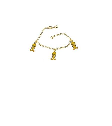 Simply Glamorous Jewellery- New 9ct Gold Filled Tweetie pie Charm Bracelet