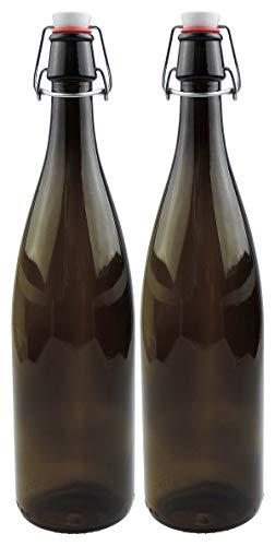 mikken 2 x braune Glasflasche 1 Liter mit Bügelverschluss aus Porzellan, inkl Etiketten