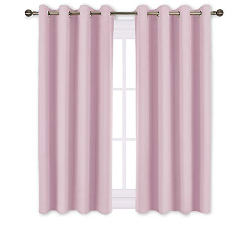 NICETOWN Blackout Curtains for Girls Room - Thermal Insulated Solid Grommet Room Darkening Curtains/Panels / Drapes for Bedroom (Lavender Pink=Baby Pink, One Pair, 52 by 45-Inch)