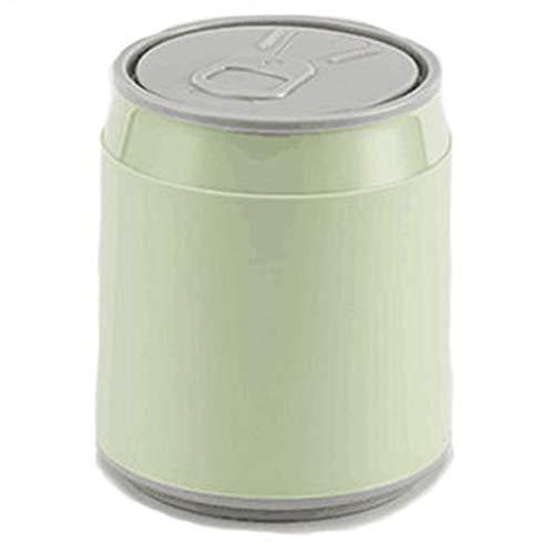 HXSKI Creativo Encimera De Escritorio Oficina,Forma del Tanque Cola Mini Papelera,con Lid Pequeño Papelera De Basura,para Residuos Y Reciclaje-Verde 13.5x16cm(5x6inch)