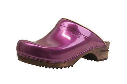 Sanita Classic Patent   Zuecos Abiertos   Producto Artesanal Original para Mujer   Zuecos de Piel con Suela de Madera   Morado   40 EU