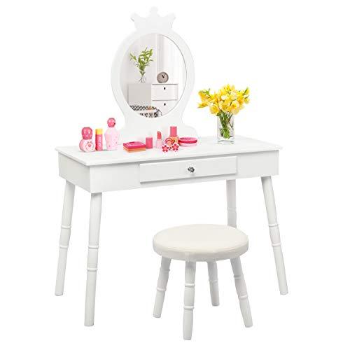 COSTWAY Kinder Schminktisch, Make-up Tisch mit Hocker und abnehmbarem Spiegel, Frisierkommode Holz, Mädchen Frisiertisch mit Schublade 70x34x100cm