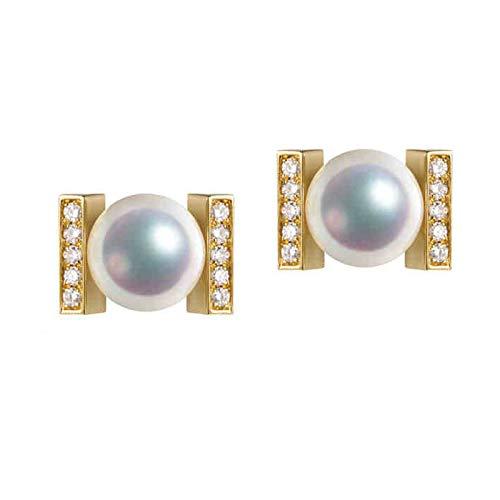 KnSam 18K Oro Amarillo Pendiente, Arete Rectángulo con Perla Diamante Blanco, Perla Blanco, Color Oro