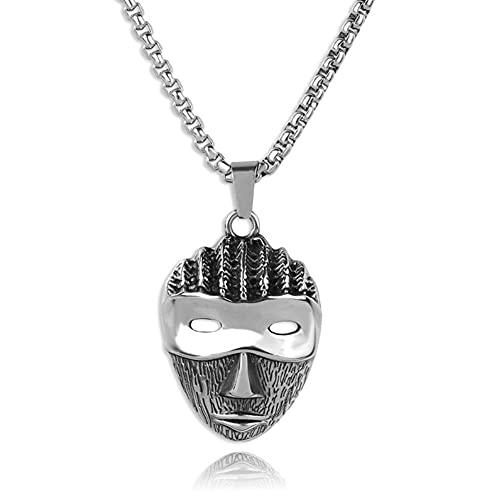 Serired Collar Acero Inoxidable 316L para Hombre, Colgante Máscara De Diablo/Calavera Gótica Nórdica Unisex, Regalo De Rock Adolescente