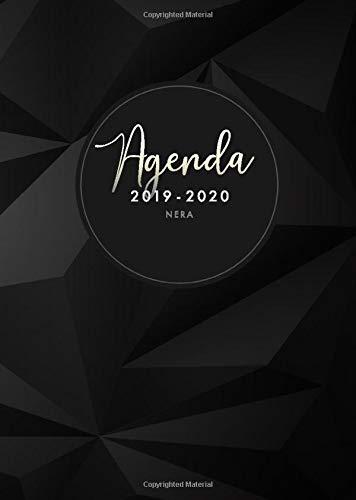 Agenda 2019 2020 nera: luglio 2019 - dicembre 2020, Agenda 2018 settimanale italiano, design geometrico moderno, nero