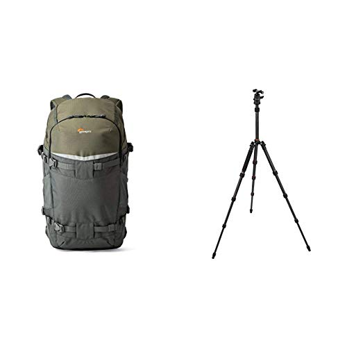 Lowepro Flipside Treck 450 Rucksack, Kamerarucksack für DSLRs und mehrere Objektive, Grau, 28,5 x 21 x 49 cm & Rollei Compact Compact Traveler No I Carbon I Schwarz I Leichtes-Reisestativ